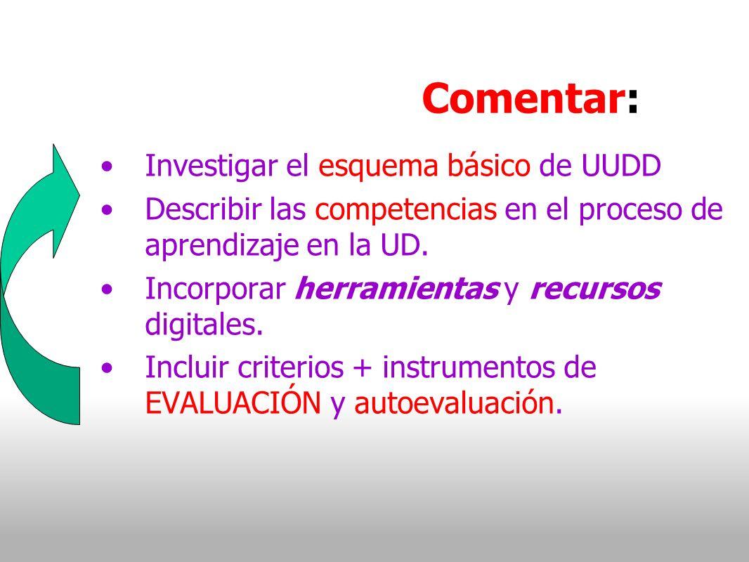 Comentar: Investigar el esquema básico de UUDD Describir las competencias en el proceso de aprendizaje en la UD.