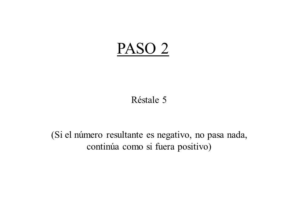 PASO 2 Réstale 5 (Si el número resultante es negativo, no pasa nada, continúa como si fuera positivo)