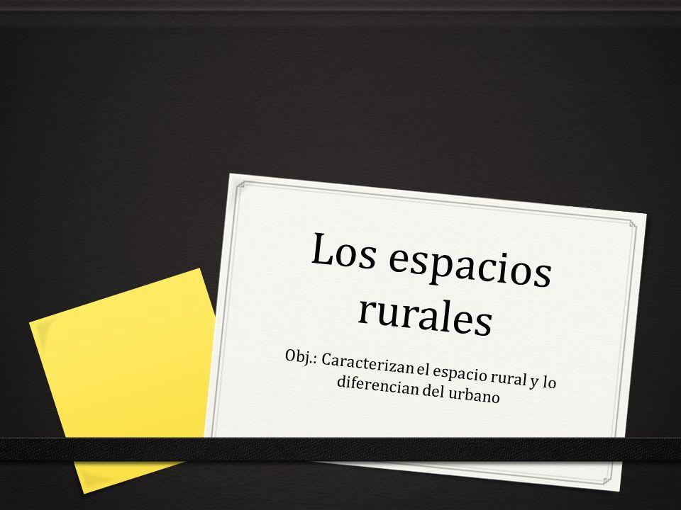 Los espacios rurales Obj.: Caracterizan el espacio rural y lo diferencian del urbano