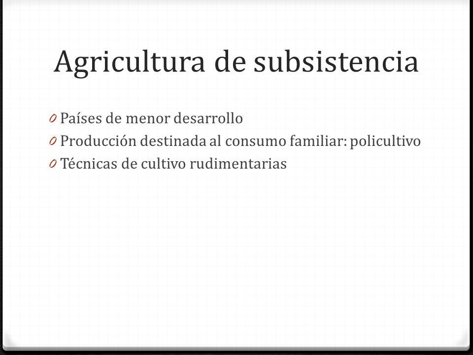 Agricultura de subsistencia 0 Países de menor desarrollo 0 Producción destinada al consumo familiar: policultivo 0 Técnicas de cultivo rudimentarias