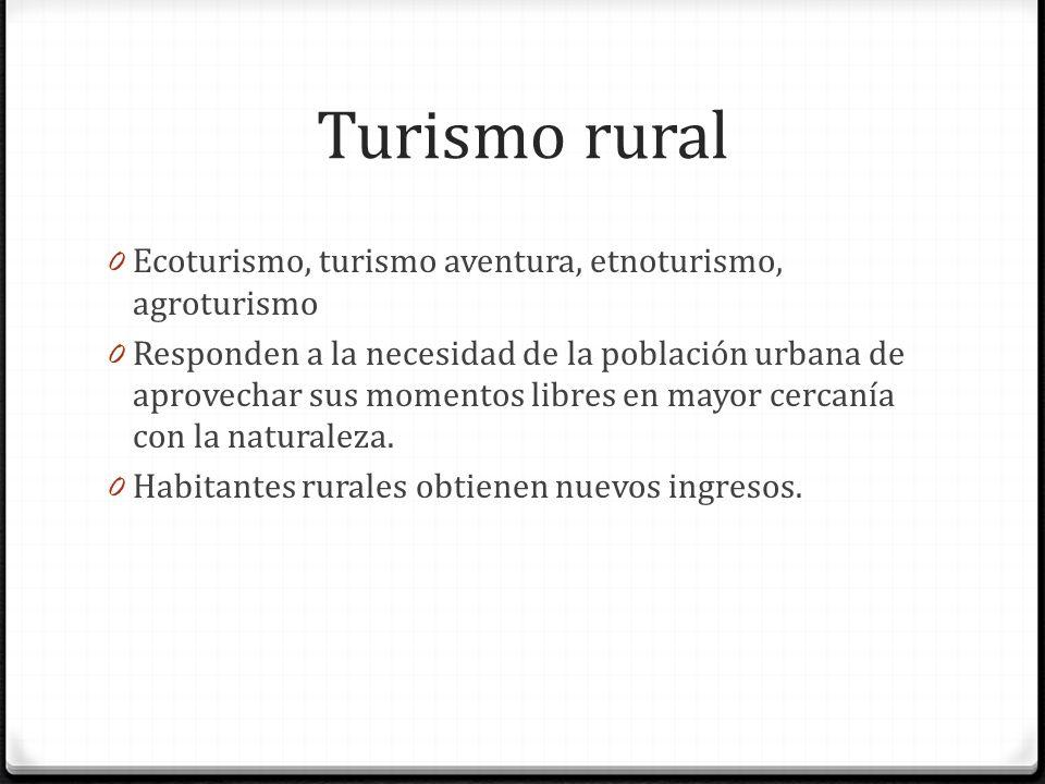 Turismo rural 0 Ecoturismo, turismo aventura, etnoturismo, agroturismo 0 Responden a la necesidad de la población urbana de aprovechar sus momentos libres en mayor cercanía con la naturaleza.