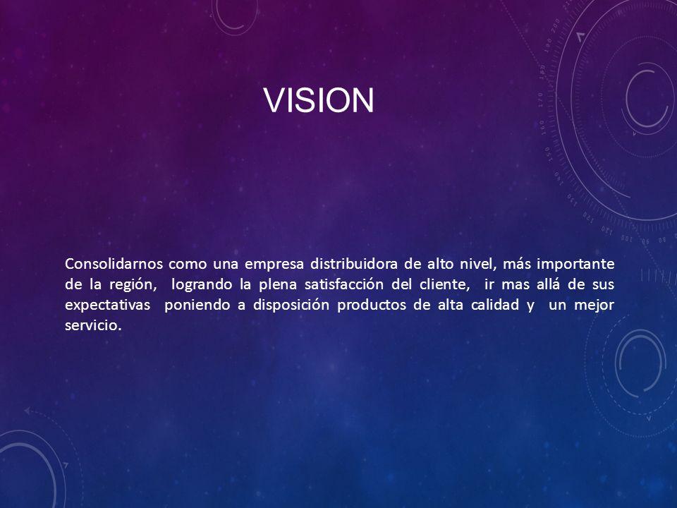 VISION Consolidarnos como una empresa distribuidora de alto nivel, más importante de la región, logrando la plena satisfacción del cliente, ir mas allá de sus expectativas poniendo a disposición productos de alta calidad y un mejor servicio.