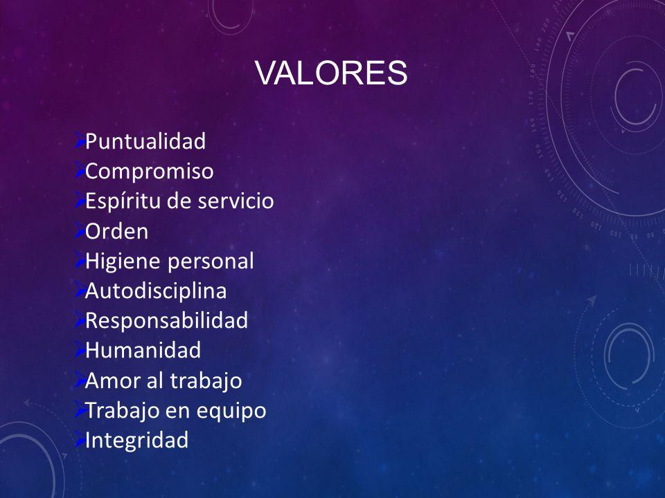 VALORES  Puntualidad  Compromiso  Espíritu de servicio  Orden  Higiene personal  Autodisciplina  Responsabilidad  Humanidad  Amor al trabajo  Trabajo en equipo  Integridad