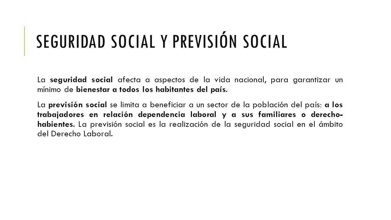SEGURIDAD SOCIAL Y PREVISIÓN SOCIAL La seguridad social afecta a aspectos de la vida nacional, para garantizar un mínimo de bienestar a todos los habitantes del país.