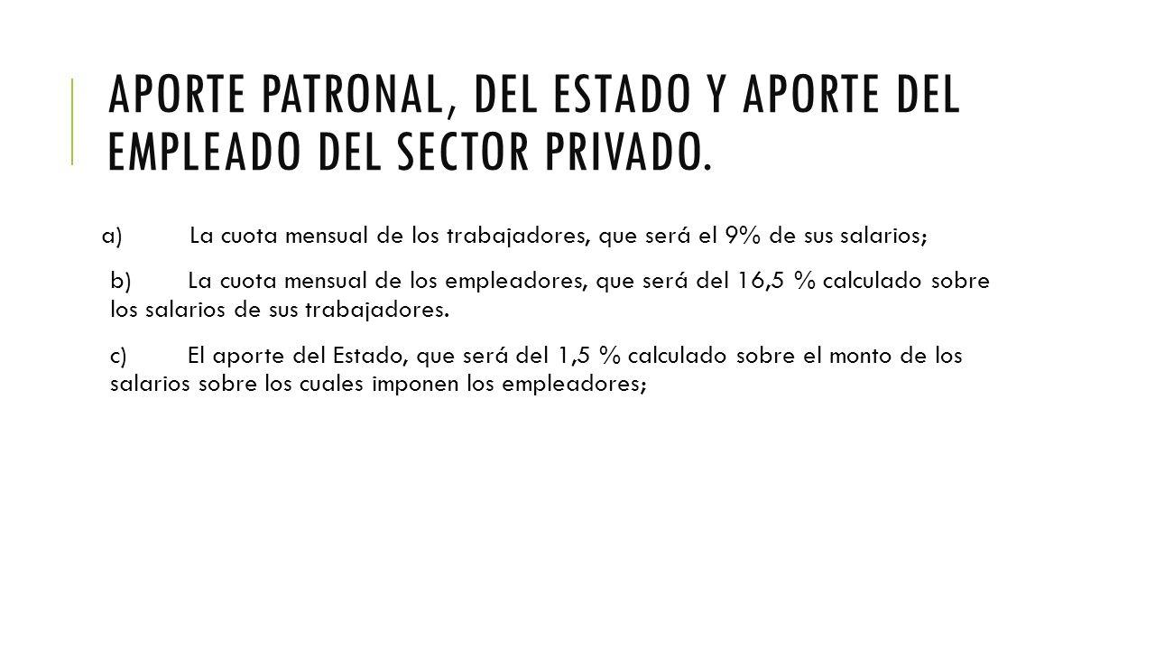 APORTE PATRONAL, DEL ESTADO Y APORTE DEL EMPLEADO DEL SECTOR PRIVADO.