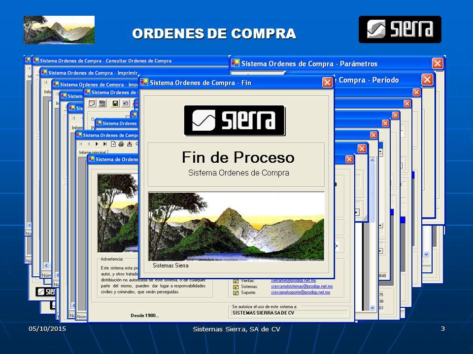 05/10/2015 Sistemas Sierra, SA de CV 3 ORDENES DE COMPRA ORDENES DE COMPRA