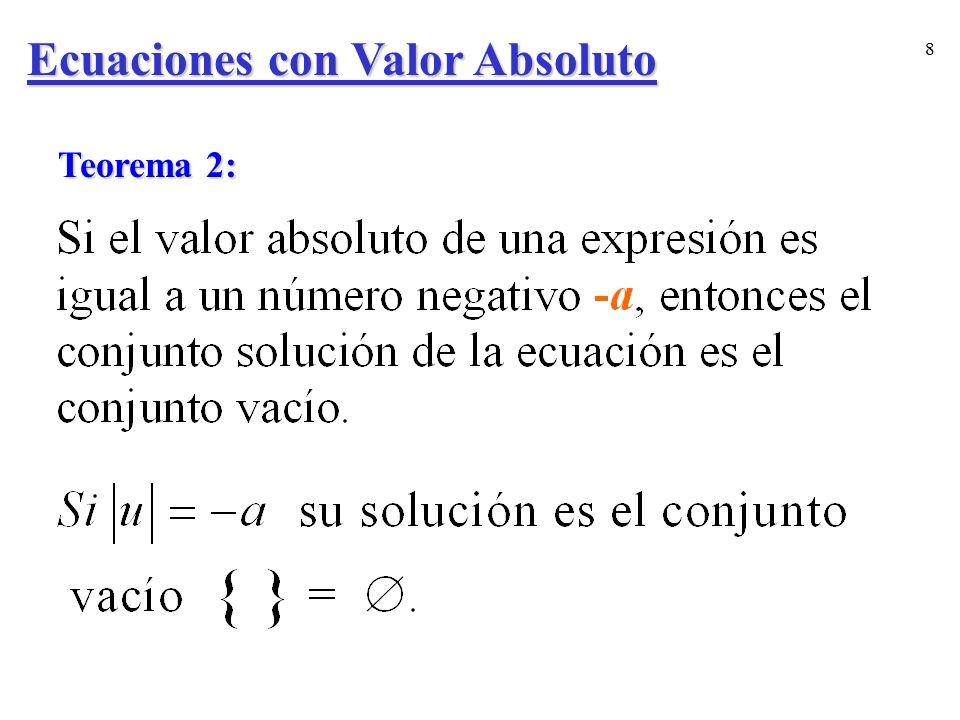 9 Aclaración: La ecuación no tiene soluciones.