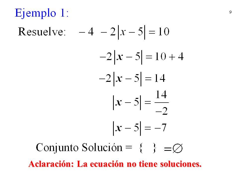 10 Aclaración: La ecuación no tiene soluciones.