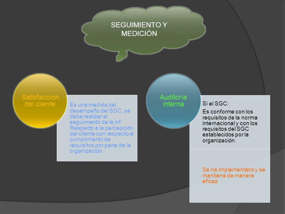 Es una medida del desempeño del SGC, se debe realizar el seguimiento de la inf.
