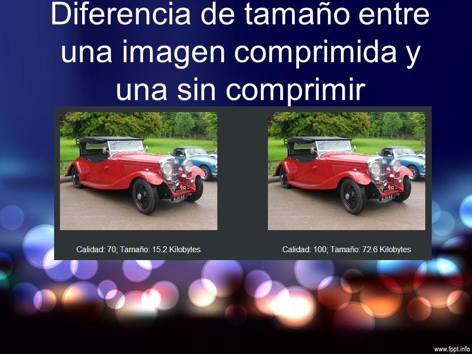 Diferencia de tamaño entre una imagen comprimida y una sin comprimir
