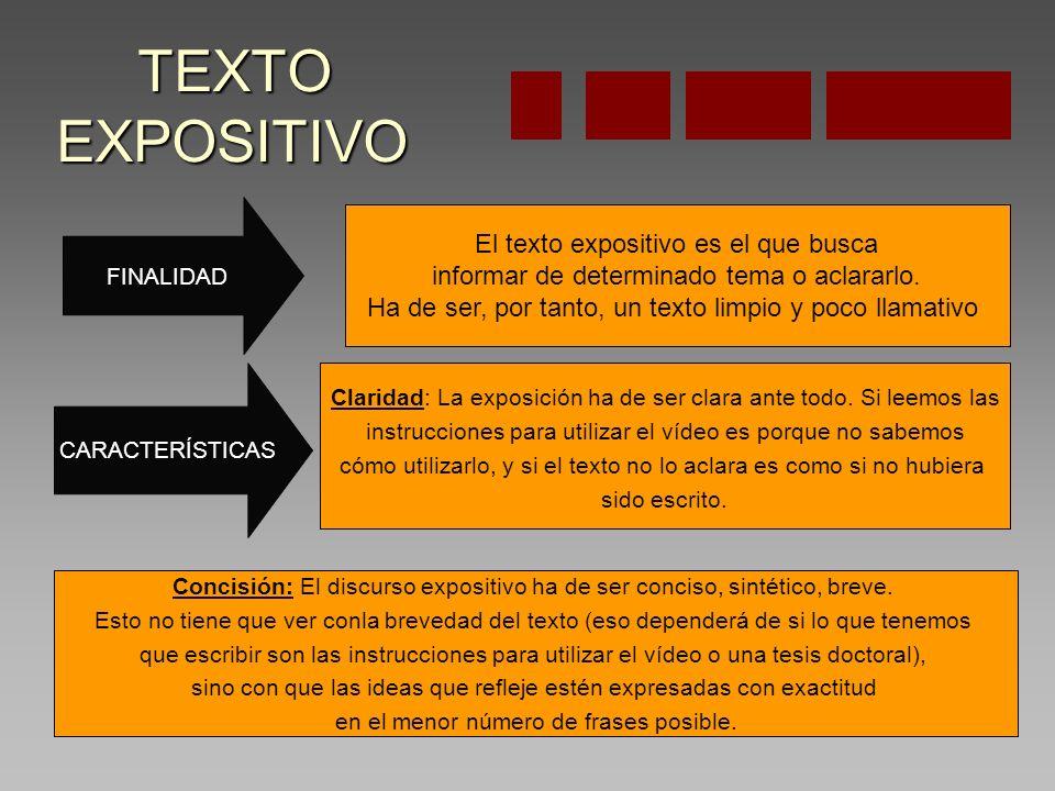 TEXTO EXPOSITIVO TEXTO EXPOSITIVO FINALIDAD CARACTERÍSTICAS El texto expositivo es el que busca informar de determinado tema o aclararlo.