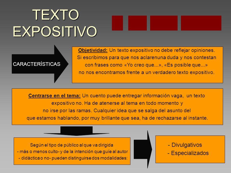 TEXTO EXPOSITIVO TEXTO EXPOSITIVO CARACTERÍSTICAS Objetividad: Un texto expositivo no debe reflejar opiniones.