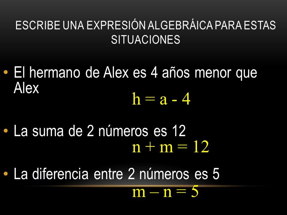 ESCRIBE UNA EXPRESIÓN ALGEBRÁICA PARA ESTAS SITUACIONES El hermano de Alex es 4 años menor que Alex La suma de 2 números es 12 La diferencia entre 2 números es 5 h = a - 4 n + m = 12 m – n = 5