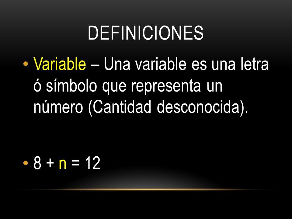 DEFINICIONES Variable – Una variable es una letra ó símbolo que representa un número (Cantidad desconocida).