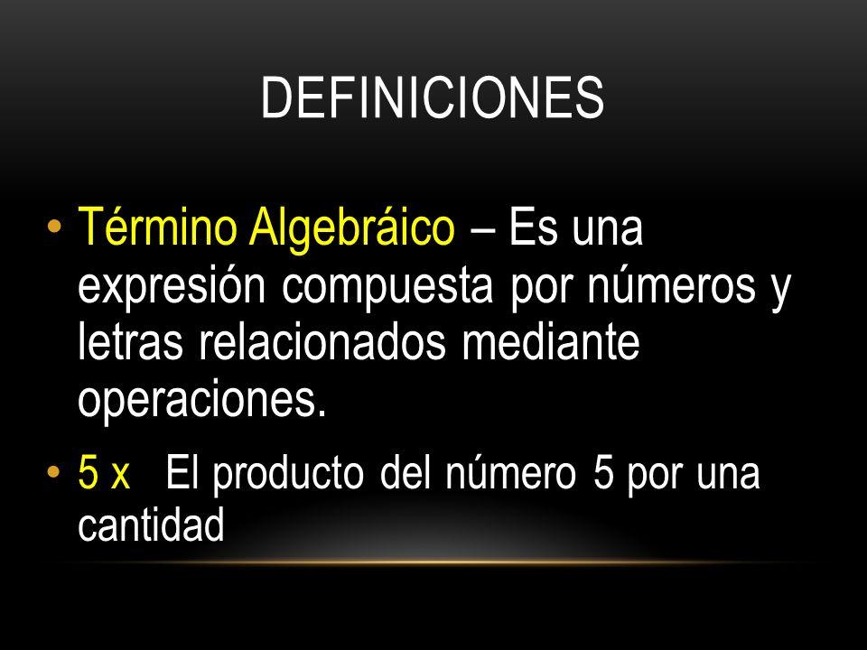 DEFINICIONES Término Algebráico – Es una expresión compuesta por números y letras relacionados mediante operaciones.