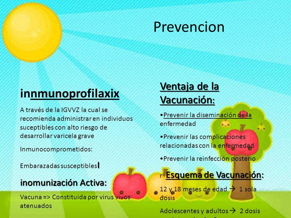 Prevencion innmunoprofilaxix A través de la IGVVZ la cual se recomienda administrar en individuos suceptibles con alto riesgo de desarrollar varicela