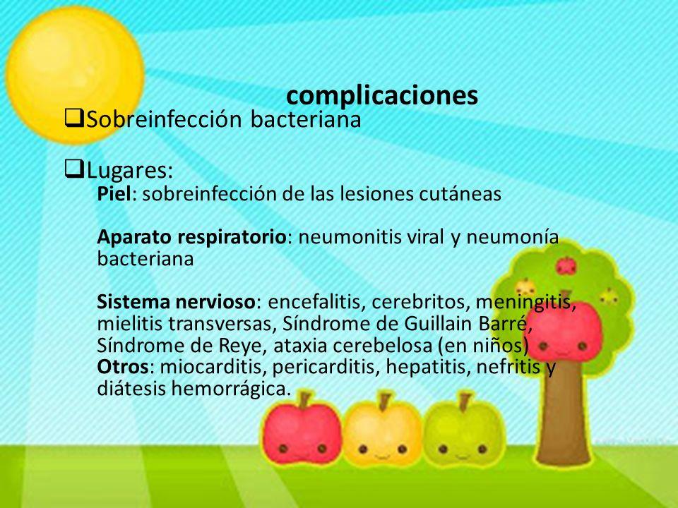 complicaciones  Sobreinfección bacteriana  Lugares: Piel: sobreinfección de las lesiones cutáneas Aparato respiratorio: neumonitis viral y neumonía