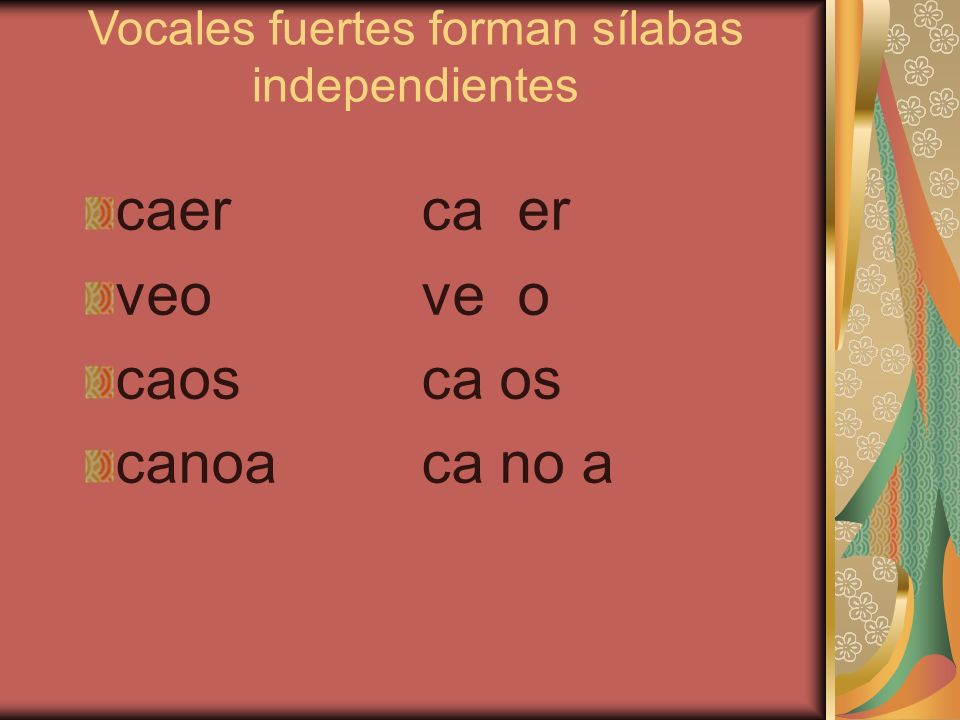 Vocales fuertes forman sílabas independientes caercaer veove o caosca os canoaca no a