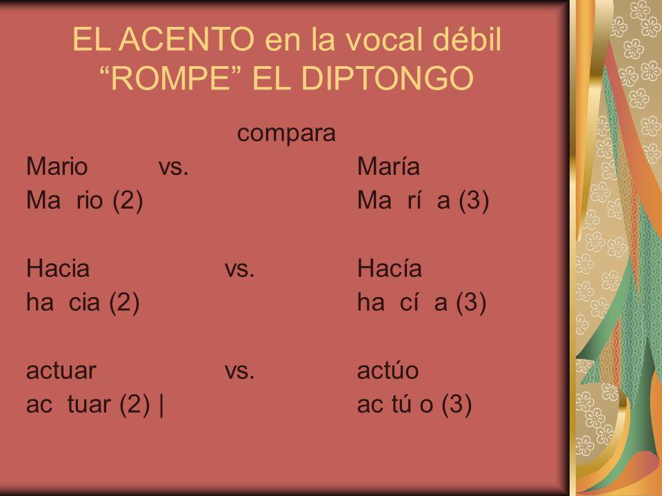 EL ACENTO en la vocal débil ROMPE EL DIPTONGO compara Mariovs.