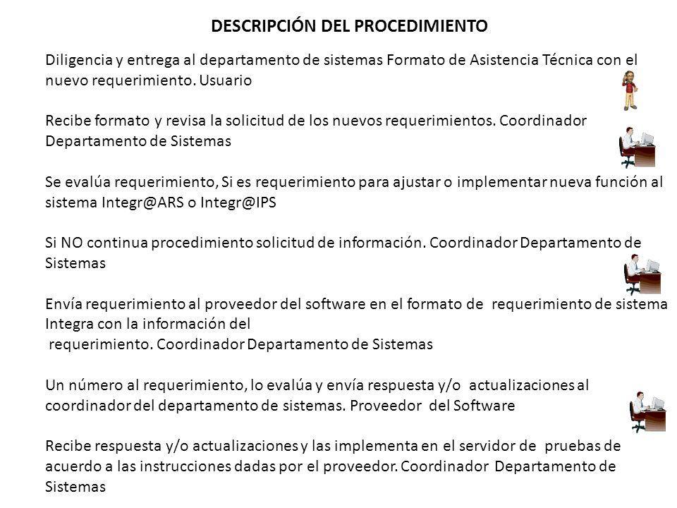 DESCRIPCIÓN DEL PROCEDIMIENTO Diligencia y entrega al departamento de sistemas Formato de Asistencia Técnica con el nuevo requerimiento.