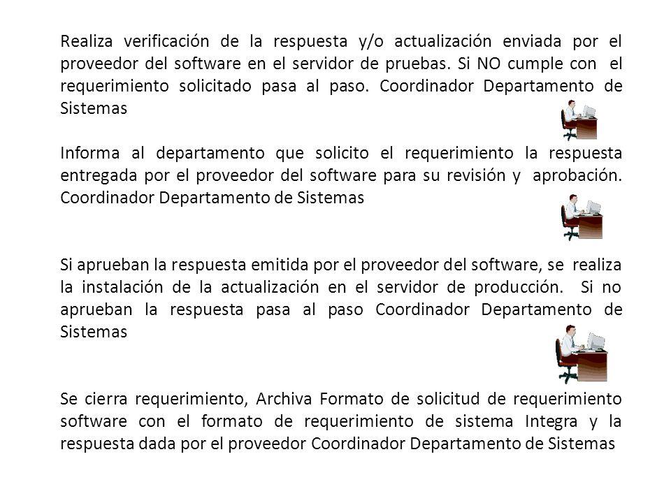 Realiza verificación de la respuesta y/o actualización enviada por el proveedor del software en el servidor de pruebas.