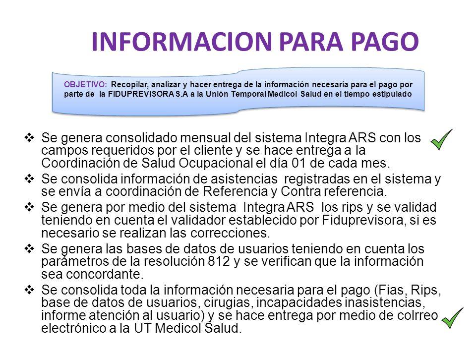 INFORMACION PARA PAGO  Se genera consolidado mensual del sistema Integra ARS con los campos requeridos por el cliente y se hace entrega a la Coordinación de Salud Ocupacional el día 01 de cada mes.