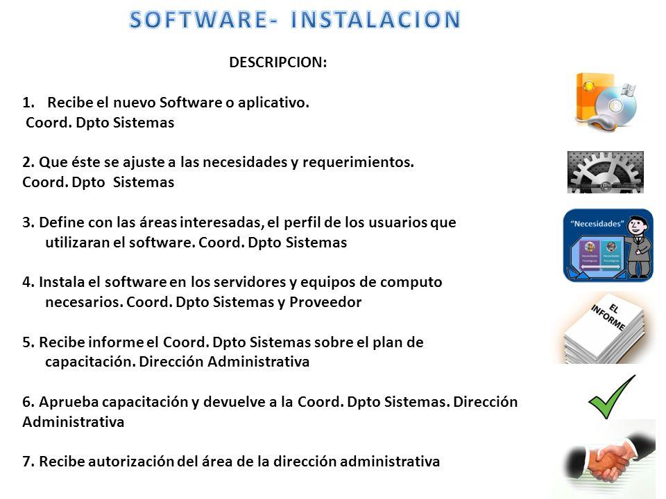 DESCRIPCION: 1.Recibe el nuevo Software o aplicativo.