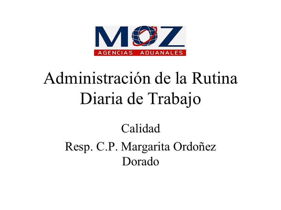Administración de la Rutina Diaria de Trabajo Calidad Resp. C.P. Margarita Ordoñez Dorado