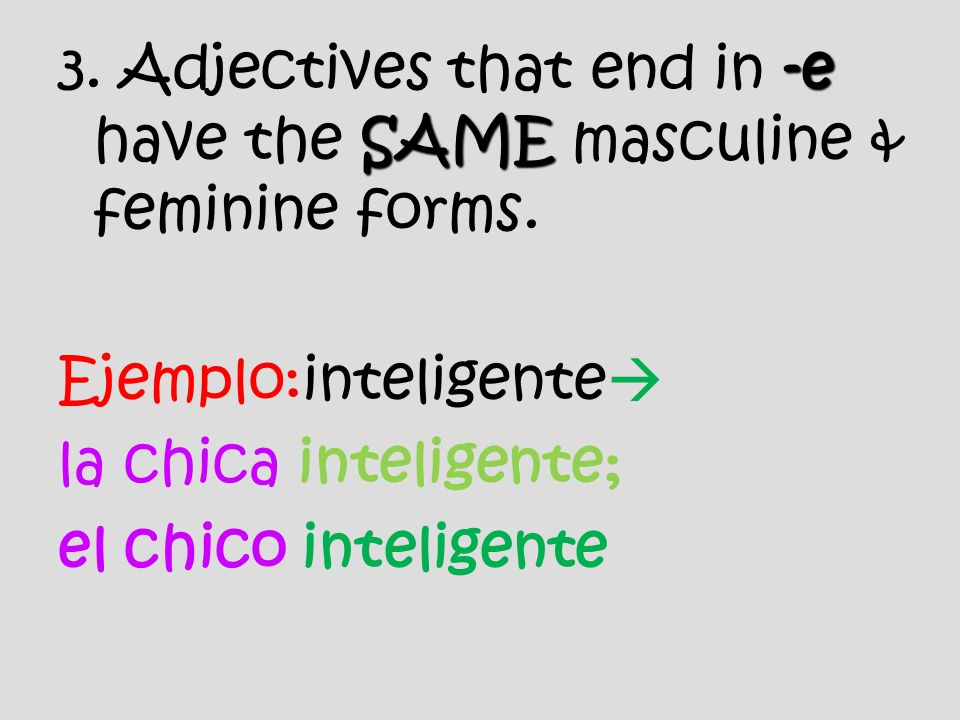 -e SAME 3. Adjectives that end in -e have the SAME masculine & feminine forms.