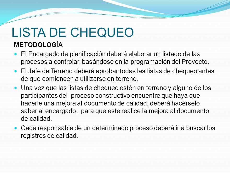 LISTA DE CHEQUEO METODOLOGÍA El Encargado de planificación deberá elaborar un listado de las procesos a controlar, basándose en la programación del Pr