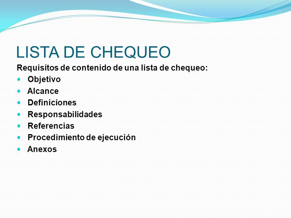 LISTA DE CHEQUEO Requisitos de contenido de una lista de chequeo: Objetivo Alcance Definiciones Responsabilidades Referencias Procedimiento de ejecuci