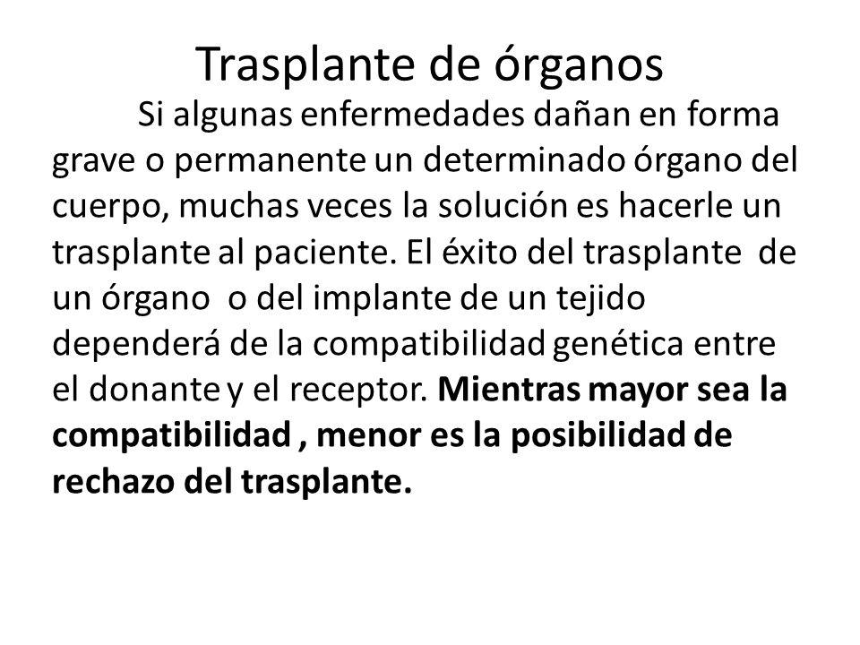 Trasplante de órganos Si algunas enfermedades dañan en forma grave o permanente un determinado órgano del cuerpo, muchas veces la solución es hacerle un trasplante al paciente.