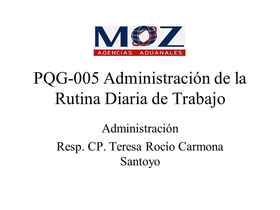 PQG-005 Administración de la Rutina Diaria de Trabajo Administración Resp. CP. Teresa Rocío Carmona Santoyo
