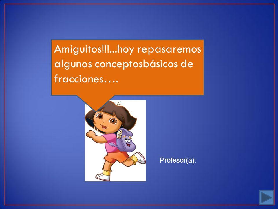Profesor(a): Amiguitos!!!...hoy repasaremos algunos conceptosbásicos de fracciones….
