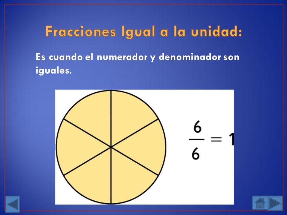 Es cuando el numerador y denominador son iguales.