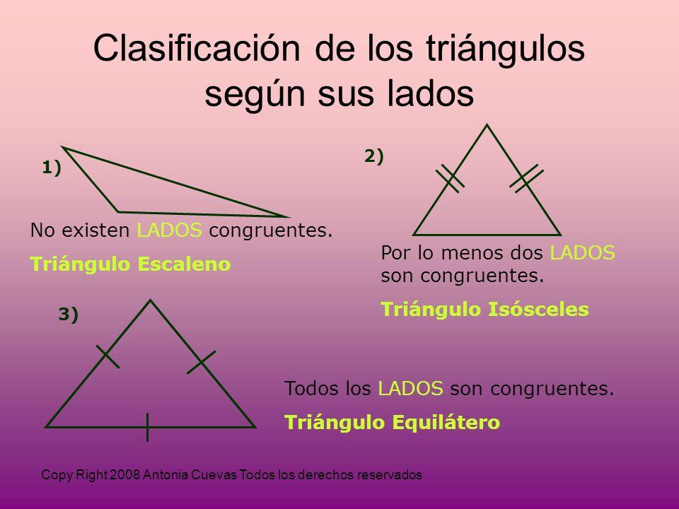 Copy Right 2008 Antonia Cuevas Todos los derechos reservados 1) No existen LADOS congruentes.