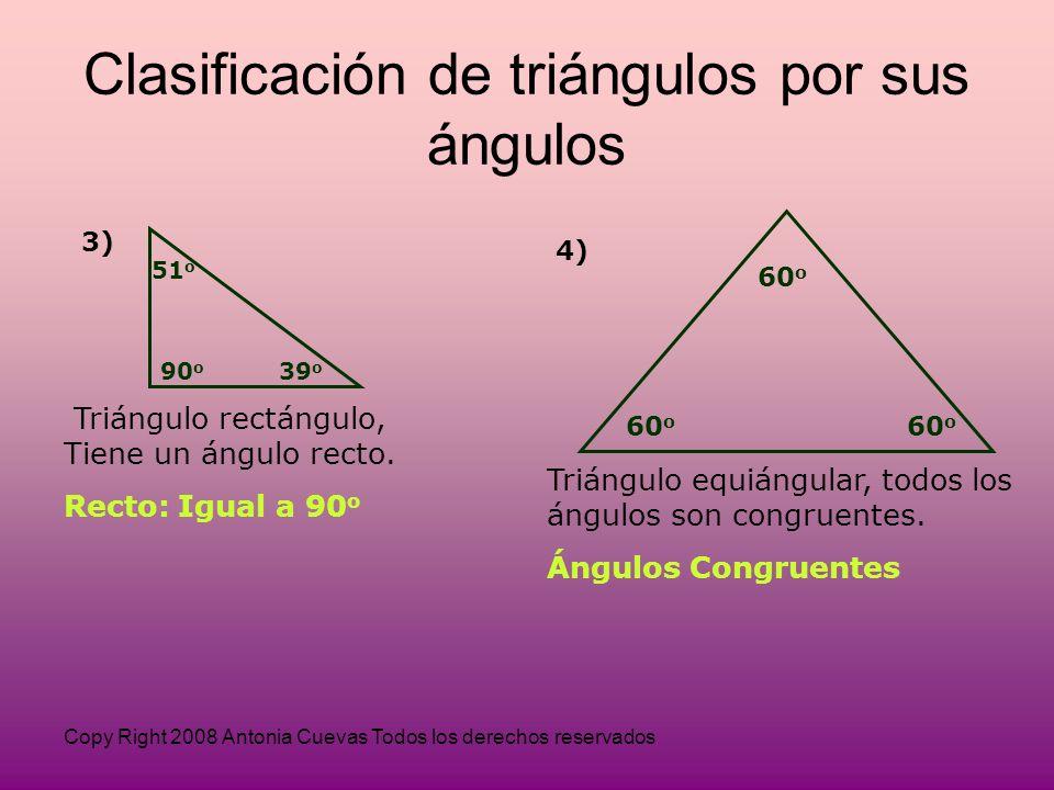 Copy Right 2008 Antonia Cuevas Todos los derechos reservados 3) 51 o 90 o 39 o Triángulo rectángulo, Tiene un ángulo recto.
