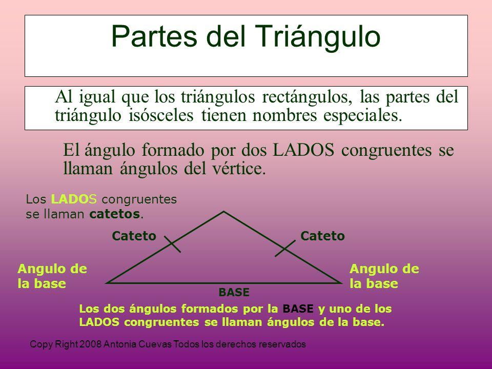Copy Right 2008 Antonia Cuevas Todos los derechos reservados Partes del Triángulo Al igual que los triángulos rectángulos, las partes del triángulo isósceles tienen nombres especiales.