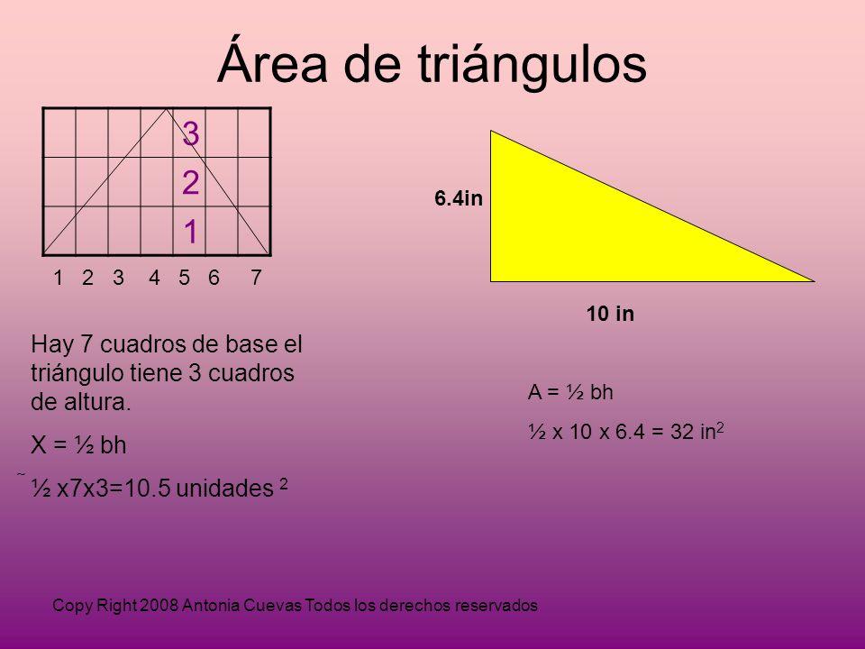 Copy Right 2008 Antonia Cuevas Todos los derechos reservados Área de triángulos 3 2 1 1 2 3 4 5 6 7 Hay 7 cuadros de base el triángulo tiene 3 cuadros de altura.