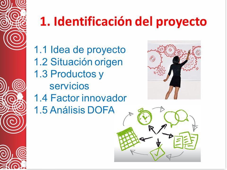 1. Identificación del proyecto 1.1 Idea de proyecto 1.2 Situación origen 1.3 Productos y servicios 1.4 Factor innovador 1.5 Análisis DOFA