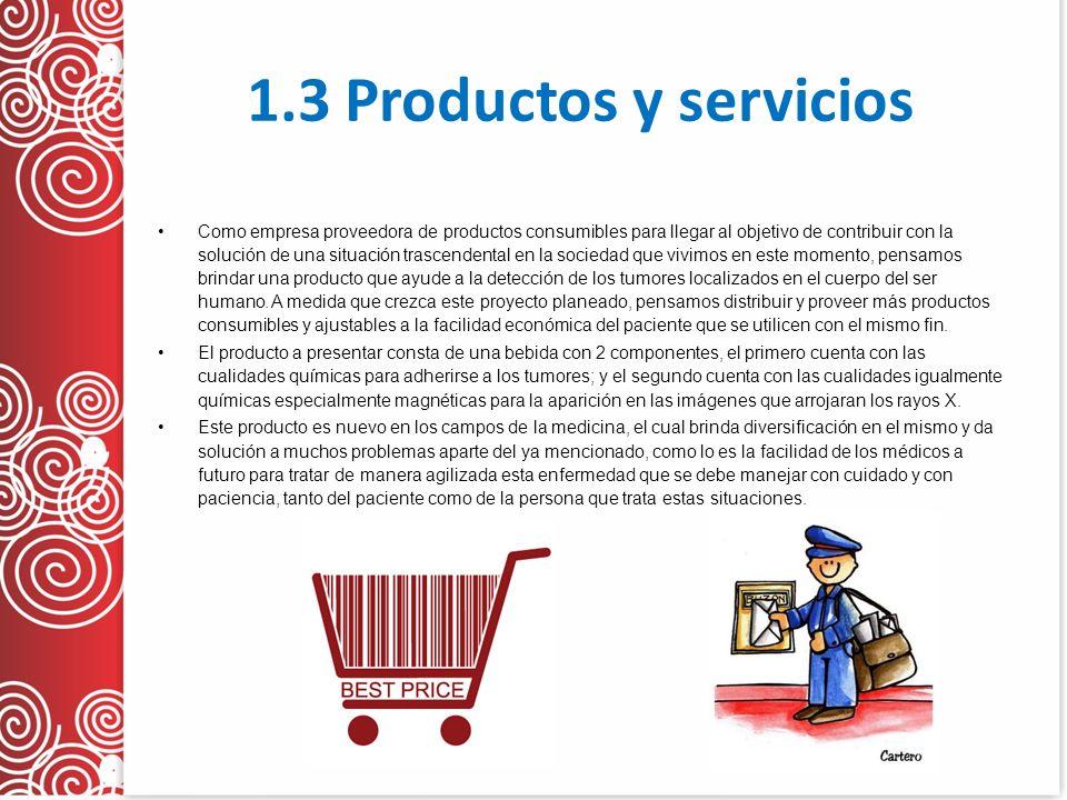 1.3 Productos y servicios Como empresa proveedora de productos consumibles para llegar al objetivo de contribuir con la solución de una situación tras