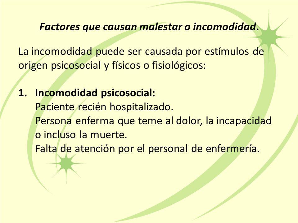 La incomodidad puede ser causada por estímulos de origen psicosocial y físicos o fisiológicos: 1.Incomodidad psicosocial: Paciente recién hospitalizado.