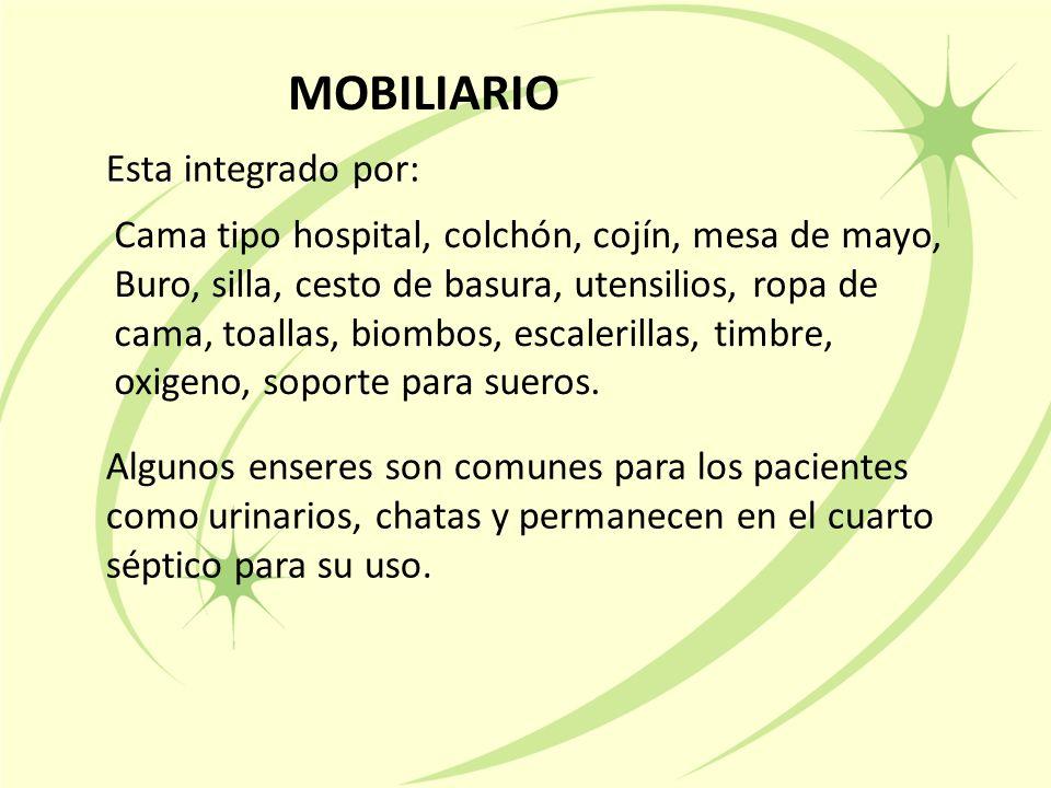 MOBILIARIO Esta integrado por: Algunos enseres son comunes para los pacientes como urinarios, chatas y permanecen en el cuarto séptico para su uso.