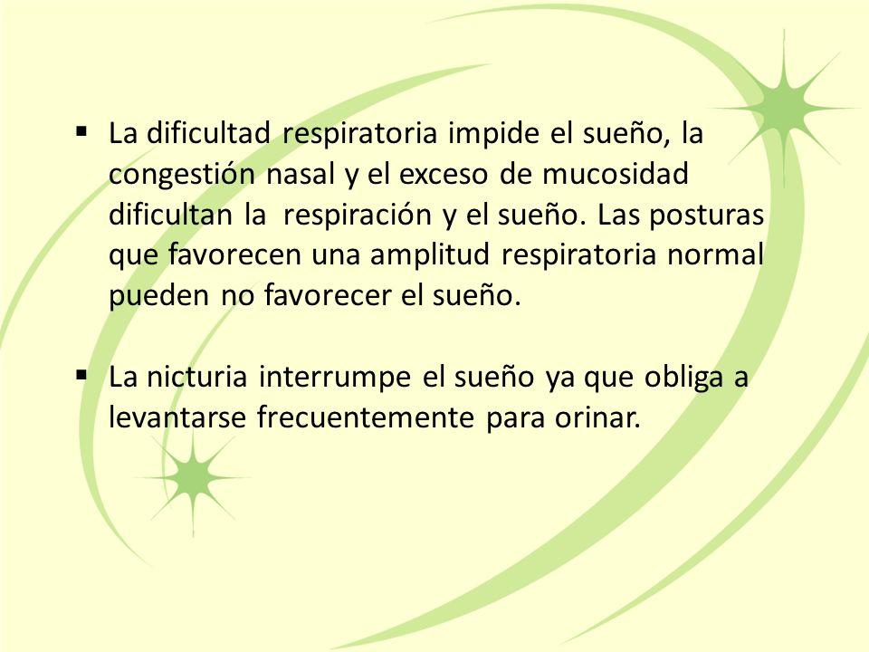  La dificultad respiratoria impide el sueño, la congestión nasal y el exceso de mucosidad dificultan la respiración y el sueño.