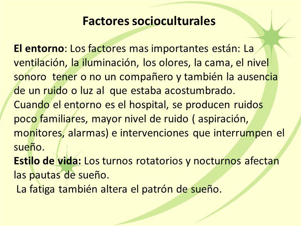 Factores socioculturales El entorno: Los factores mas importantes están: La ventilación, la iluminación, los olores, la cama, el nivel sonoro tener o no un compañero y también la ausencia de un ruido o luz al que estaba acostumbrado.