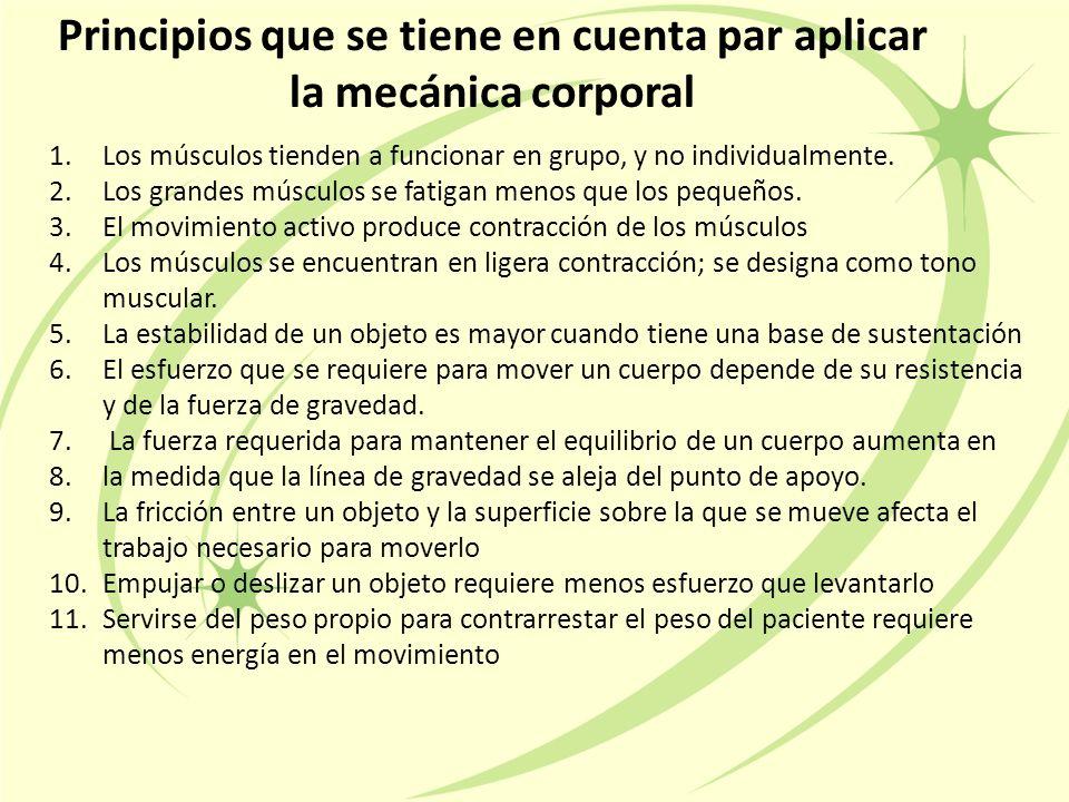Principios que se tiene en cuenta par aplicar la mecánica corporal 1.Los músculos tienden a funcionar en grupo, y no individualmente.