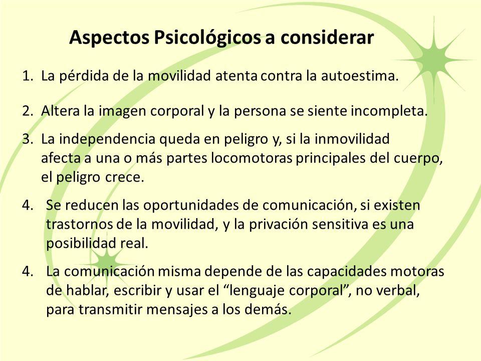 Aspectos Psicológicos a considerar 1.La pérdida de la movilidad atenta contra la autoestima.