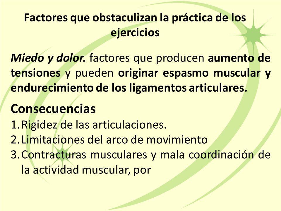 Factores que obstaculizan la práctica de los ejercicios Miedo y dolor.