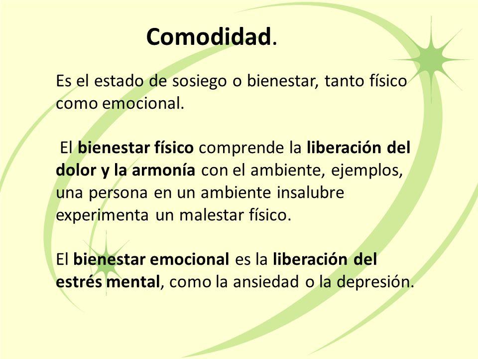 Incomodidad: Como resultado de un estímulo físico o psicológico como el miedo, la ansiedad el dolor o el entorno nuevo.