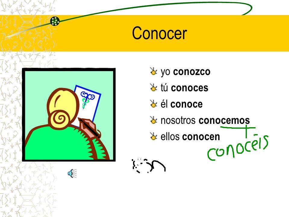 Here's a second helping! > conocer yo ______ tú ______ él ______ nosotros ______ ellos ______